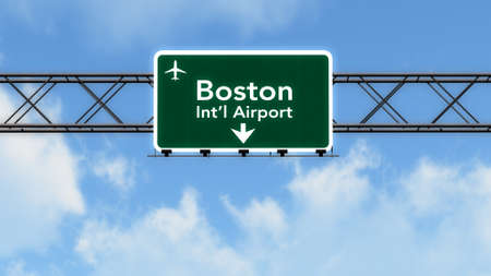 highway sign: Boston USA Airport Highway Sign 3D Illustration Stock Photo