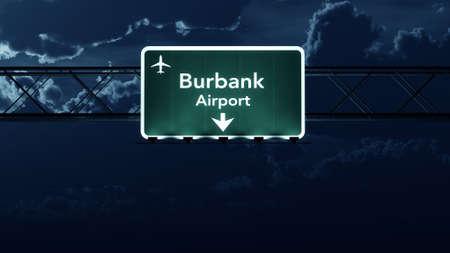 highway night: Burbank USA Airport Highway Sign at Night 3D Illustration