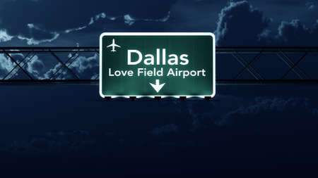 highway love: Dallas Love Field USA Airport Highway Sign at Night 3D Illustration