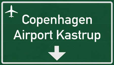 2d: Copenhagen Denmark Airport Highway Sign 2D Illustration Stock Photo