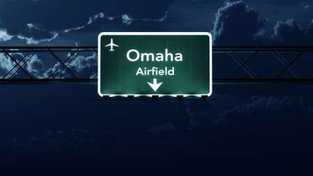 omaha: Omaha USA Airport Highway Sign at Night 3D Illustration