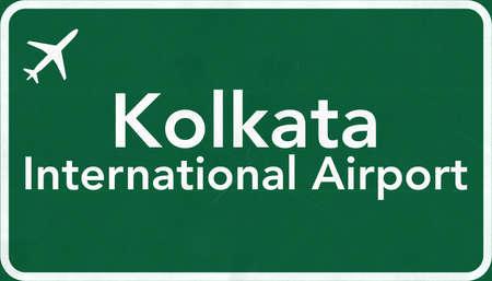 kolkata: Kolkata India Airport Highway Sign 2D Illustration