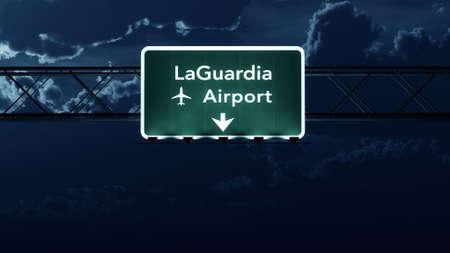 new york night: New York LaGuardia USA Airport Highway Sign at Night 3D Illustration