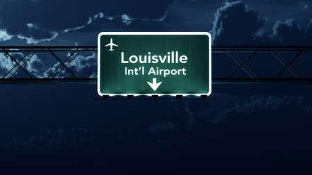 louisville: Louisville USA Airport Highway Sign at Night 3D Illustration