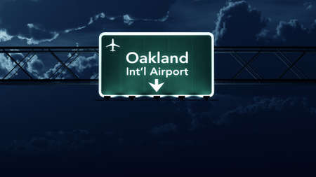 highway at night: Oakland USA Airport Highway Sign at Night 3D Illustration