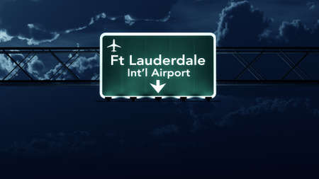 fort lauderdale: Fort Lauderdale USA Airport Highway Sign at Night 3D Illustration