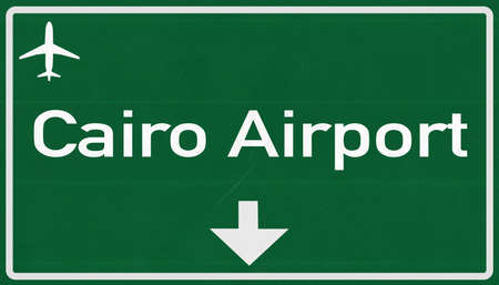cairo: Cairo Egypt Airport Highway Sign 2D Illustration Stock Photo