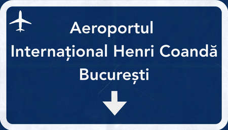 2d: Bucharest Romania Airport Highway Sign 2D Illustration Stock Photo