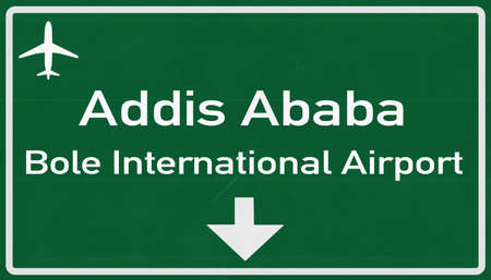 addis: Addis Ababa Ethiopia Airport Highway Sign 2D Illustration
