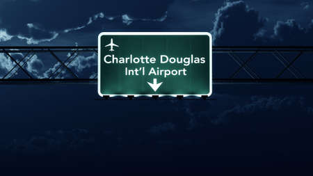 highway at night: Charlotte USA Airport Highway Sign at Night 3D Illustration Stock Photo