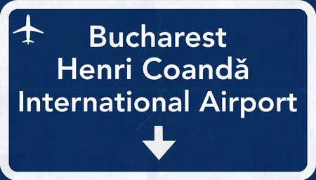 coanda: Bucharest Romania Airport Highway Sign 2D Illustration Stock Photo