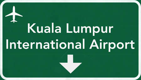 highway sign: Kuala Lumpur Airport Highway Sign 2D Illustration