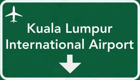 Kuala Lumpur Airport Highway Sign 2D Illustration