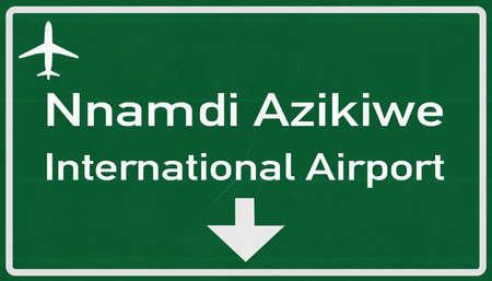 2d: Abuja Nigeria Airport Highway Sign 2D Illustration