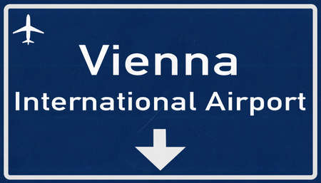 motorway: Vienna Austria Airport Highway Sign 2D Illustration Stock Photo