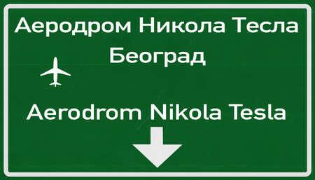 belgrade: Belgrade Serbia Airport Highway Sign 2D Illustration