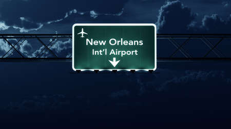 highway at night: New Orleans USA Airport Highway Sign at Night 3D Illustration