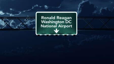 ronald reagan: Washington DC Reagan USA Airport Highway Sign at Night 3D Illustration