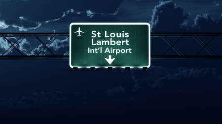 louis: Saint Louis USA Airport Highway Sign at Night 3D Illustration