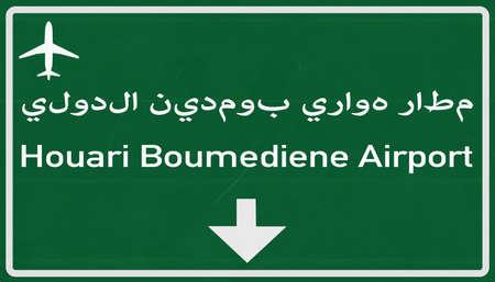 algiers: Algiers Algeria Airport Highway Sign 2D Illustration