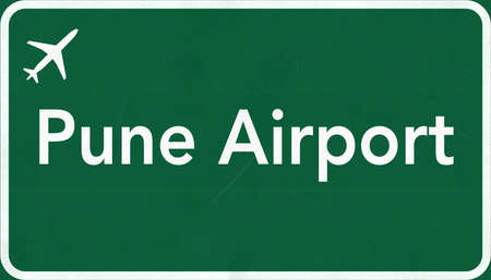 pune: Pune India Airport Highway Sign 2D Illustration