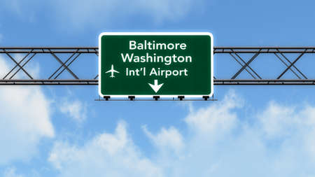 baltimore: Baltimore USA Airport Highway Sign 3D Illustration Stock Photo