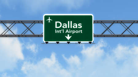 Dallas Forth Worth USA Airport Highway Sign 3D Illustration