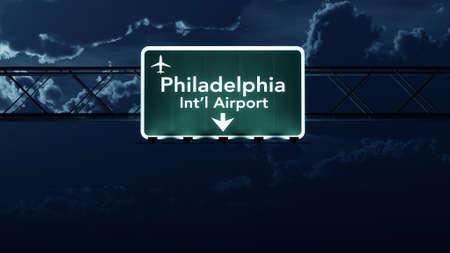 philadelphia: Philadelphia USA Airport Highway Sign at Night 3D Illustration