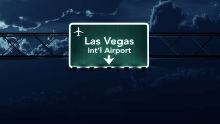 highway at night: Las Vegas USA Airport Highway Sign at Night 3D Illustration Stock Photo
