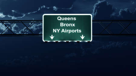 bronx: Queens Bronx NY Airports USA Highway Sign at Night 3D Illustration