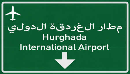 hurghada: Hurghada Egypt Airport Highway Sign 2D Illustration