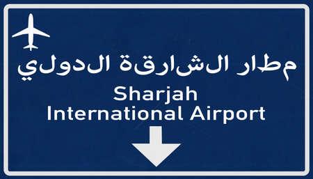 sharjah: Sharjah United Arab Emirates Airport Highway Sign 2D Illustration Stock Photo