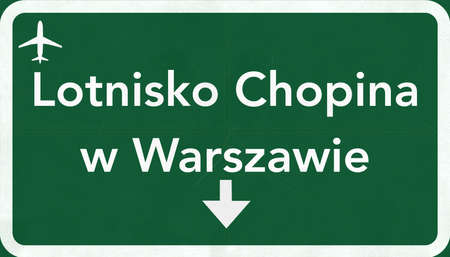 warszawa: Warsaw Poland Airport Highway Sign 2D Illustration Stock Photo