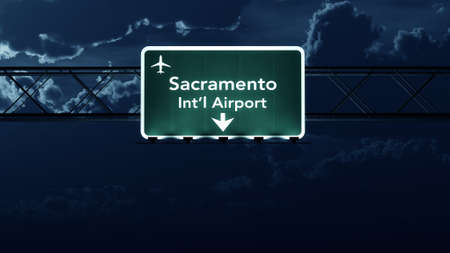 sacramento: Sacramento USA Airport Highway Sign at Night 3D Illustration
