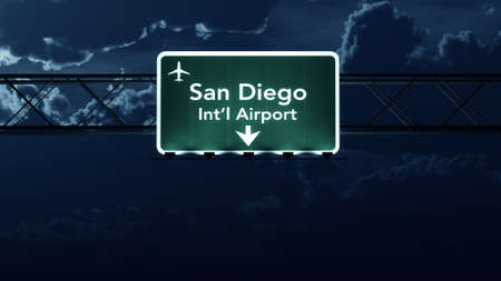 highway at night: San Diego USA Airport Highway Sign at Night 3D Illustration