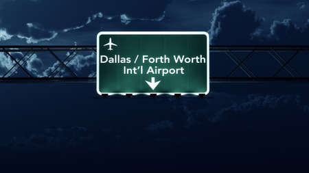 Dallas Forth Worth USA Airport Highway Sign at Night 3D Illustration