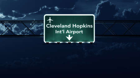 highway night: Cleveland Hopkins USA Airport Highway Sign at Night 3D Illustration