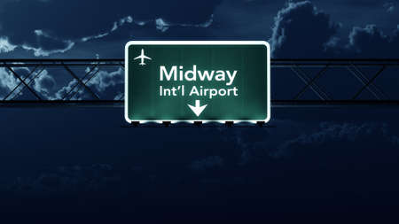 highway at night: Chicago Midway USA Airport Highway Sign at Night 3D Illustration