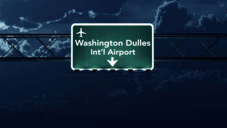 dc: Washington DC Dulles USA Airport Highway Sign at Night 3D Illustration