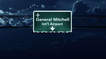 milwaukee: Milwaukee USA Airport Highway Sign at Night 3D Illustration Stock Photo
