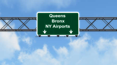 bronx: Queens Bronx NY Airports USA Highway Sign 3D Illustration
