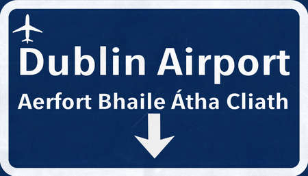 irish cities: Dublin Ireland Airport Highway Sign 2D Illustration