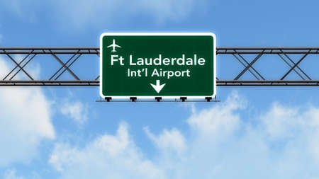 fort lauderdale: Fort Lauderdale USA Airport Highway Sign 3D Illustration