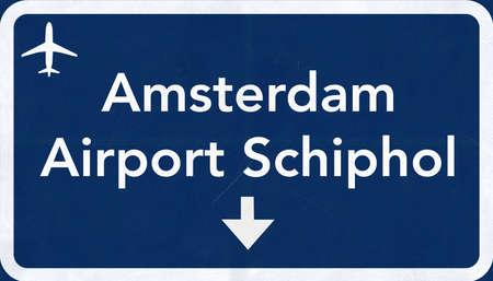 Schiphol Amsterdam Netherlands Airport Highway Sign 2D Illustration Banque d'images