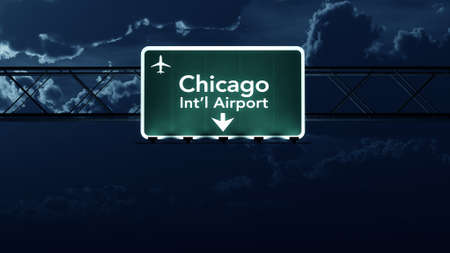 Chicago Ohare USA Airport Highway Sign at Night 3D Illustration Stock Photo