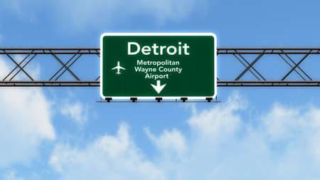 detroit: Detroit USA Airport Highway Sign 3D Illustration
