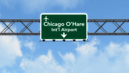 Chicago Ohare USA Airport Highway Sign 3D Illustration Stock Photo