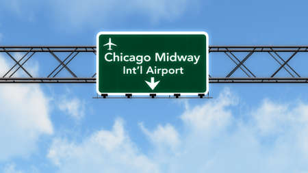 midway: Chicago Midway USA Airport Highway Sign 3D Illustration