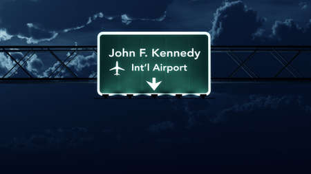 new york night: New York JFK USA Airport Highway Sign at Night 3D Illustration