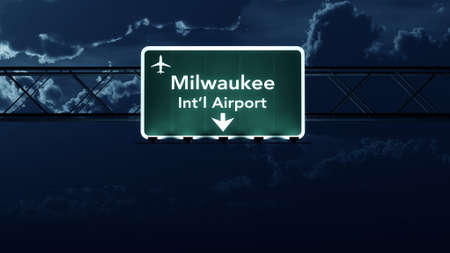 highway at night: Milwaukee USA Airport Highway Sign at Night 3D Illustration Stock Photo